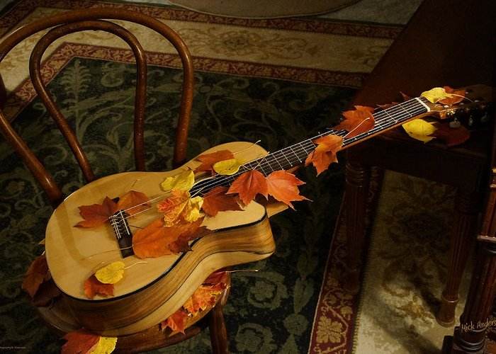 Guitar Greeting Card featuring the photograph Guitar Autumn 1 by Mick Anderson