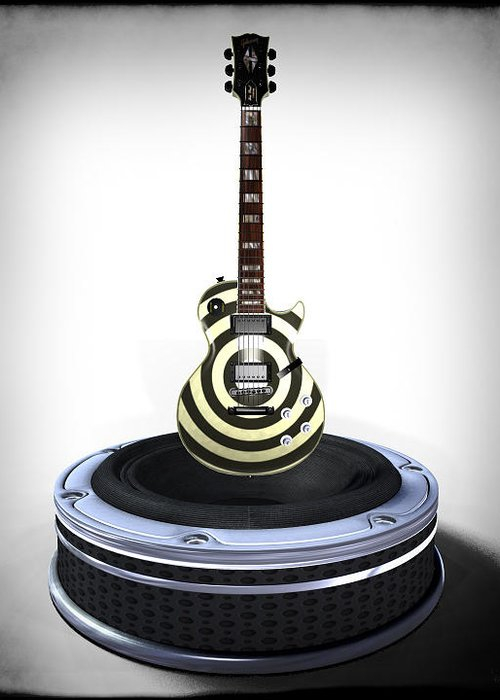 Guitar Greeting Card featuring the digital art Guitar Desplay V2 by Frederico Borges