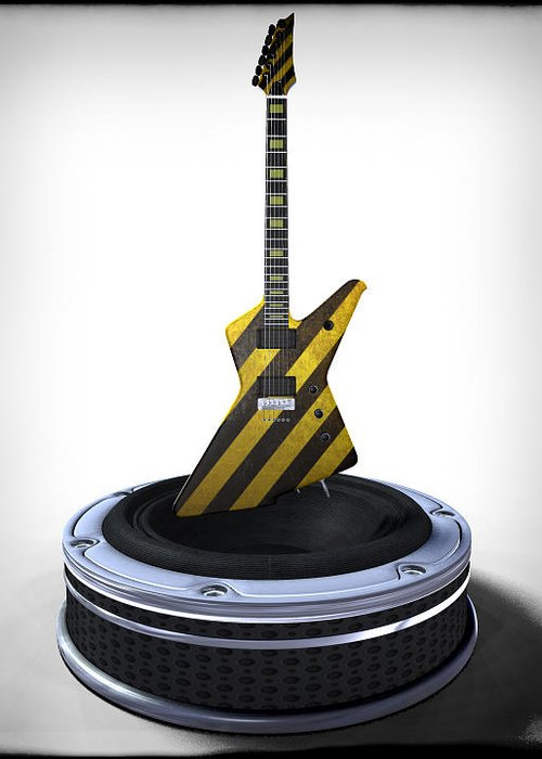 Music Greeting Card featuring the digital art Guitar Desplay V3 by Frederico Borges