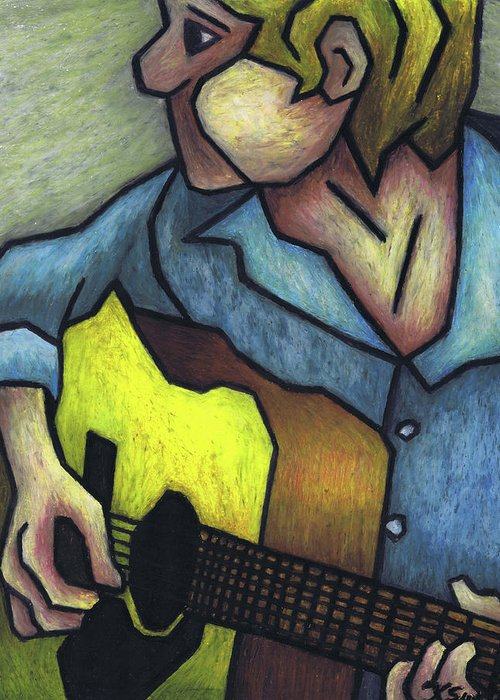 Guitar Greeting Card featuring the painting Guitar Man by Kamil Swiatek