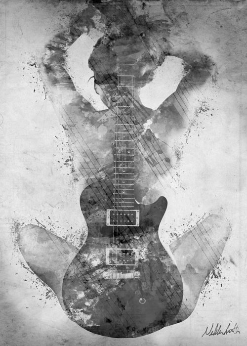 Guitar Greeting Card featuring the digital art Guitar Siren In Black And White by Nikki Smith