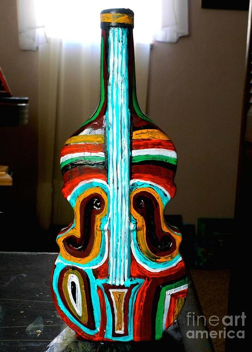 Guitar Greeting Card featuring the painting Guitar Vase by Genevieve Esson