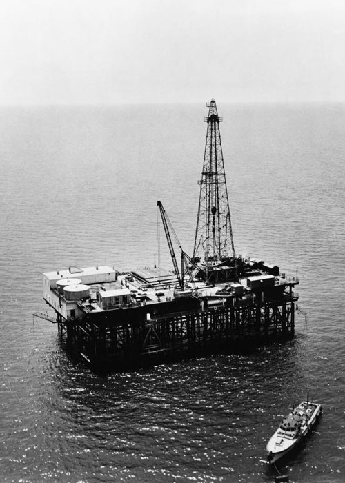 1950 Greeting Card featuring the photograph Gulf Of Mexico Oil Rig, 1950 by Granger