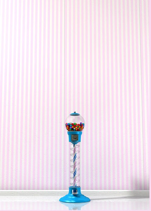 Machine Greeting Card featuring the digital art Gumball Machine In A Candy Store by Allan Swart