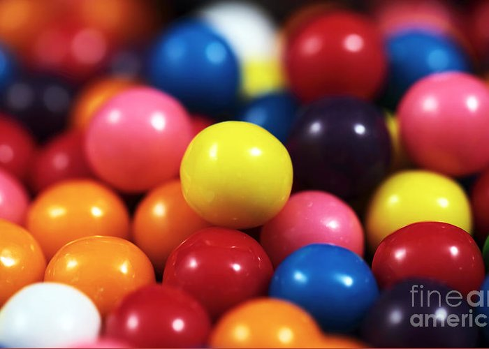 Gumballs Greeting Card featuring the photograph Gumballs by John Rizzuto