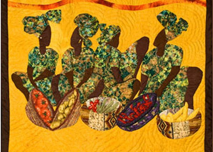 Gumbo Greeting Card featuring the tapestry - textile Gumbo Ladies by Aisha Lumumba