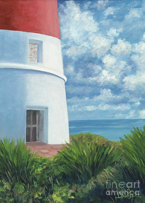 Seascape Greeting Card featuring the painting Gun Cay Lighthouse by Danielle Perry