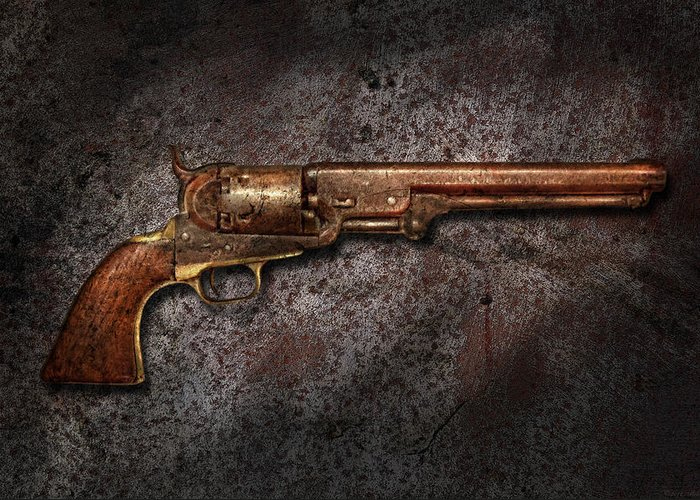 Gun Greeting Card featuring the photograph Gun - Colt Model 1851 - 36 Caliber Revolver by Mike Savad