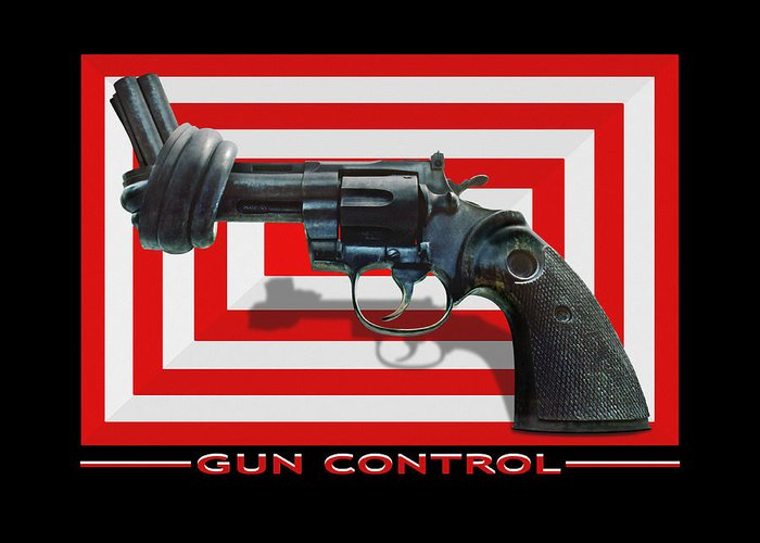 Twisted Hand Gun Greeting Card featuring the photograph Gun Control by Mike McGlothlen