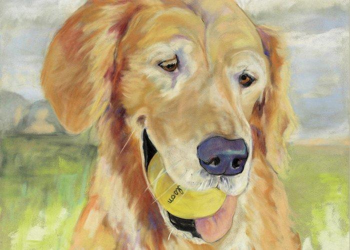 Pat Saunders-white Pastel Painting Greeting Card featuring the painting Gus by Pat Saunders-White