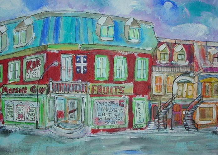 Montreal Greeting Card featuring the painting Guy Market by Michael Litvack