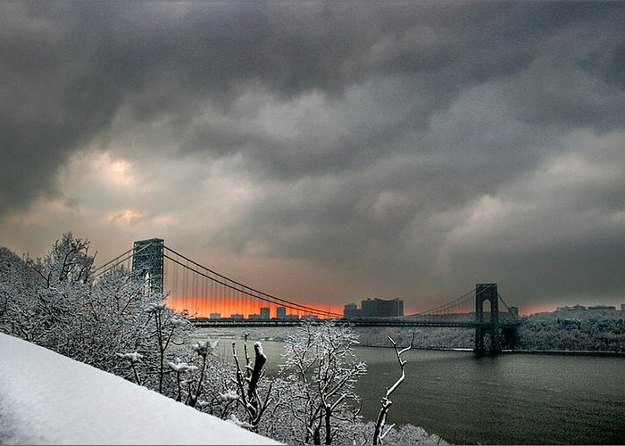Sunset Greeting Card featuring the photograph Gw Bridge In Winter Sunset by Tom Kostro