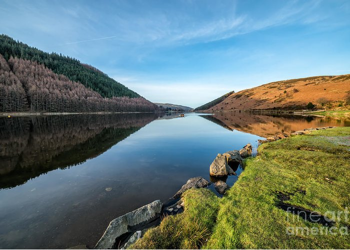 Geirionydd Lake Greeting Card featuring the photograph Gwydyr Forest Lake by Adrian Evans