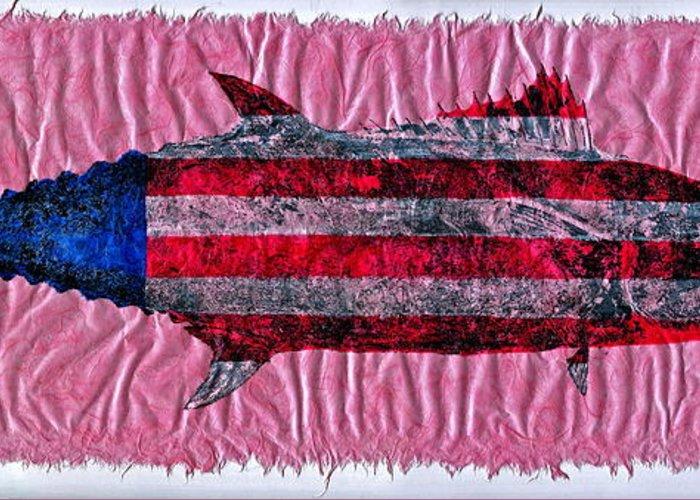 Gyotaku Greeting Card featuring the mixed media Gyotaku - American Spanish Mackerel - Flag by Jeffrey Canha