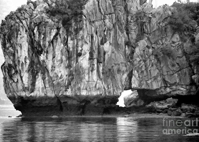 Vietnam Greeting Card featuring the photograph Ha Long Bay Rock I by Chuck Kuhn