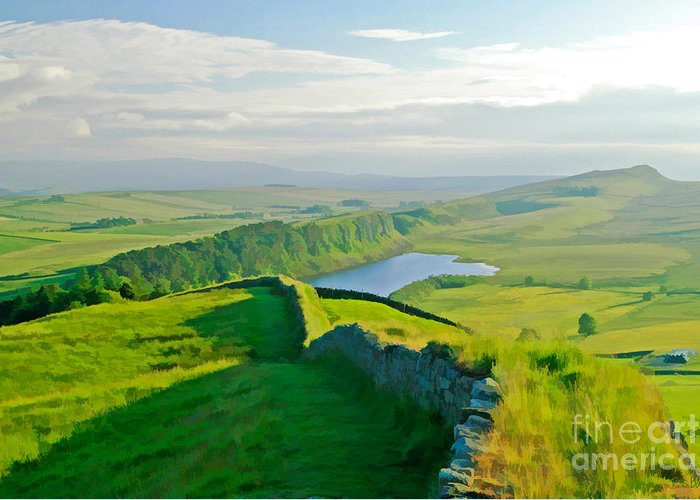 Hadrians Wall Greeting Card featuring the photograph Hadrians Wall And Crag Lough by Tess Baxter