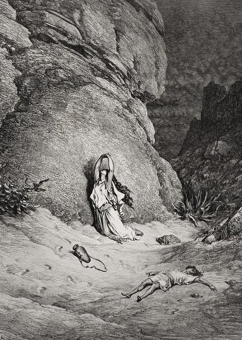 Egyptian Slave Greeting Card featuring the painting Hagar And Ishmael In The Desert by Gustave Dore