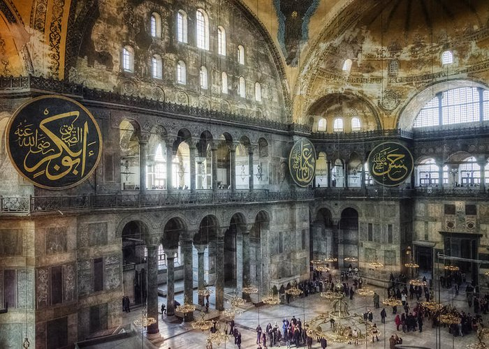 Architecture Greeting Card featuring the photograph Hagia Sophia Interior by Joan Carroll