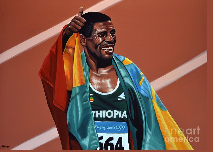 Haile Gebrselassie Greeting Card featuring the painting Haile Gebrselassie by Paul Meijering