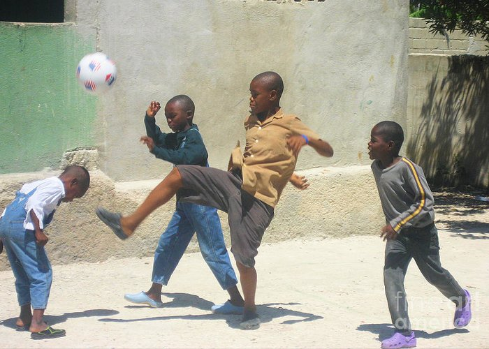Haiti - Soccer Greeting Card featuring the photograph Haitian Boys Playing Soccer by Steven Baier