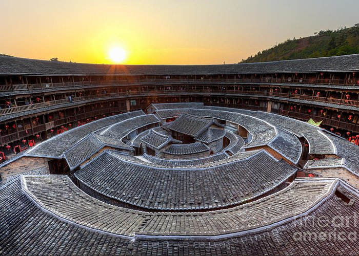Ancient Greeting Card featuring the photograph Hakka Tulou Traditional Chinese Housing At Sunset by Fototrav Print