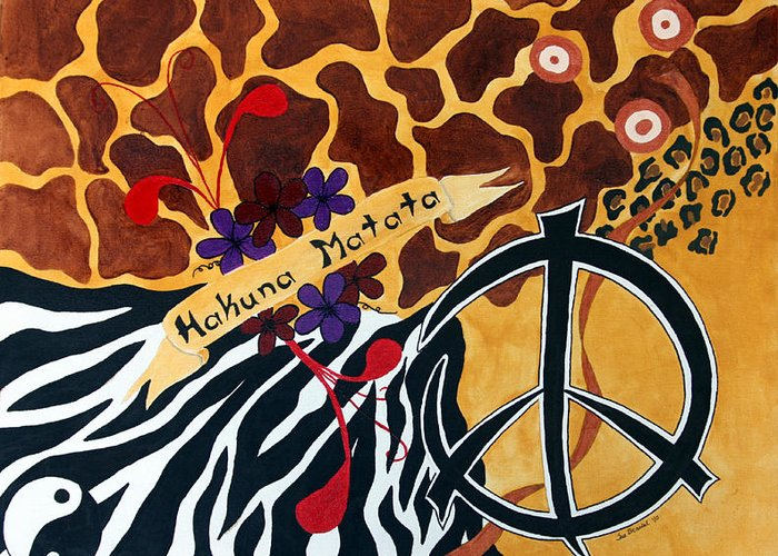 Peace Greeting Card featuring the mixed media Hakuna Matata by Sue Brassel