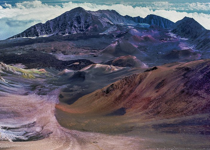 Haleakala Greeting Card featuring the photograph Haleakala Summit Crater by Geoffrey Ferguson