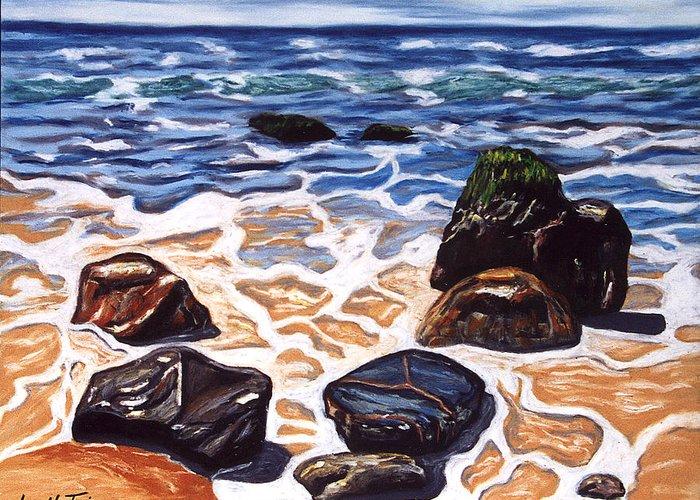 Rocks Greeting Card featuring the painting Half Circle Rocks by Ingrid Torjesen