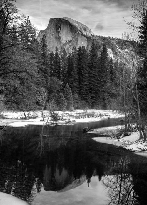 Half Dome In Winter Greeting Card featuring the photograph Half Dome In Winter by Karma Boyer