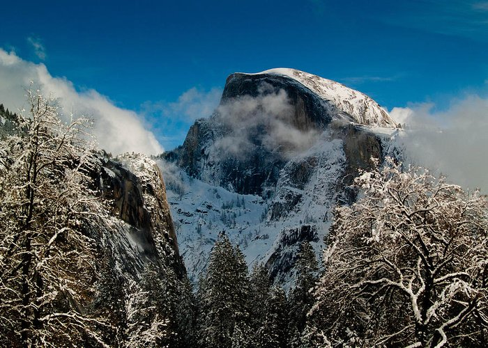 Yosemite Greeting Card featuring the photograph Half Dome Winter by Bill Gallagher