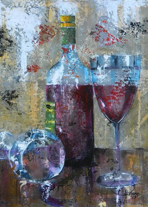 Wine Abstract Greeting Card featuring the painting Half Savored II by John Henne