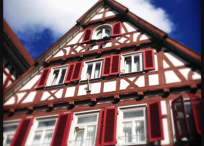 Half-timbered Greeting Card featuring the photograph Half-timbered house 09 by Matthias Hauser
