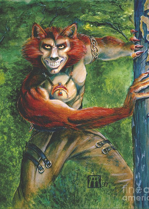 Red Headed Werewolf Greeting Card featuring the painting Half Wolf Werewolf by Melissa A Benson