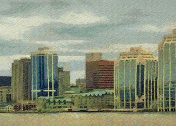 Halifax Greeting Card featuring the painting Halifax From The Harbour by Jeff Kolker