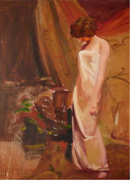 Girl Standing With Dropped Head Greeting Card featuring the painting sold Halkae by Irena Jablonski