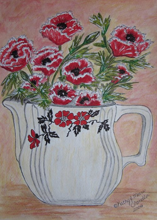 Hall China Greeting Card featuring the painting Hall China Red Poppy And Poppies by Kathy Marrs Chandler