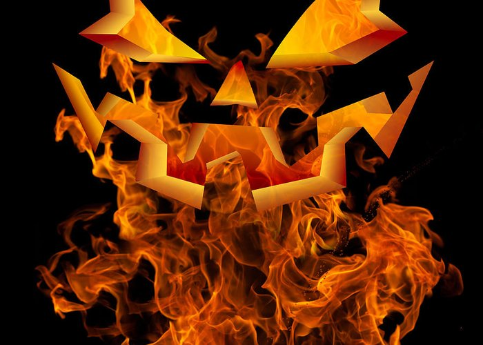 Halloween Autumn Fall Background Greeting Design Scary Flames Greeting Card