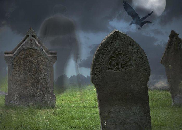 Halloween Greeting Card featuring the photograph Halloween Graveyard by Amanda Elwell