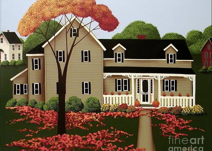 Art Greeting Card featuring the painting Halloween In Fallbrook by Catherine Holman