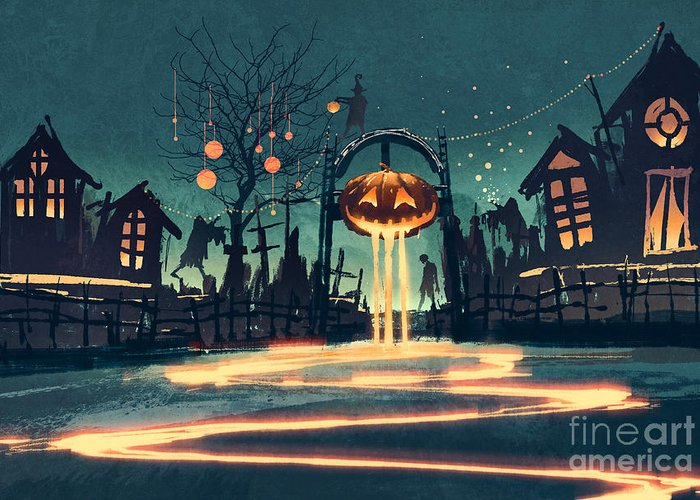 Color Greeting Card featuring the digital art Halloween Night With Pumpkin And by Tithi Luadthong