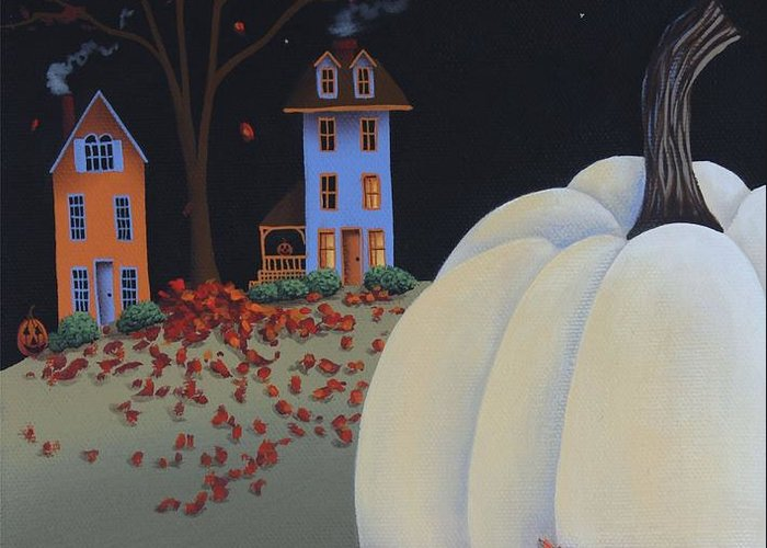 Art Greeting Card featuring the painting Halloween On Pumpkin Hill by Catherine Holman