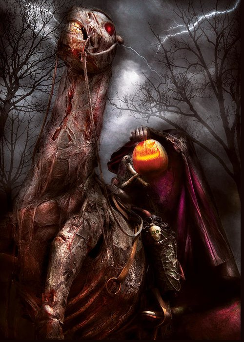 Savad Greeting Card featuring the photograph Halloween - The Headless Horseman by Mike Savad