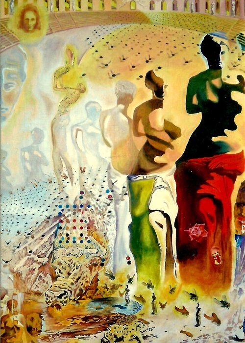 Henryk Greeting Card featuring the painting Halucinogenic Toreador By Salvador Dali by Henryk Gorecki