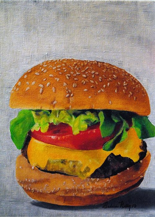 Lettuce Greeting Card featuring the painting Hamburger by Andrea Nally