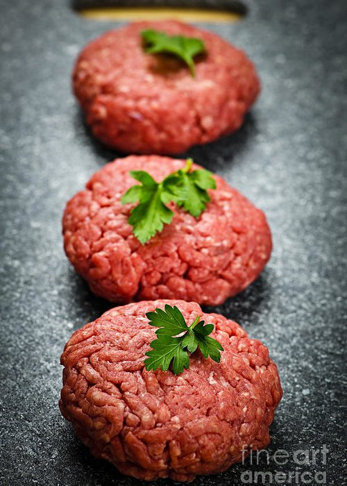Hamburgers Greeting Card featuring the photograph Hamburger Patties by Elena Elisseeva