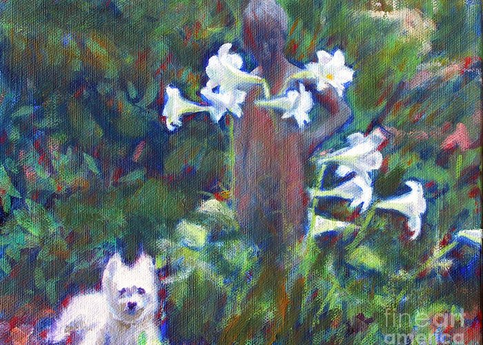 Dog Greeting Card featuring the painting Hamilton In The Garden by Candace Lovely