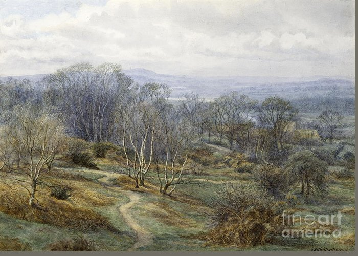 Hampstead Heath Greeting Card featuring the painting Hampstead Heath Looking Towards Harrow On The Hill by Edith Martineau