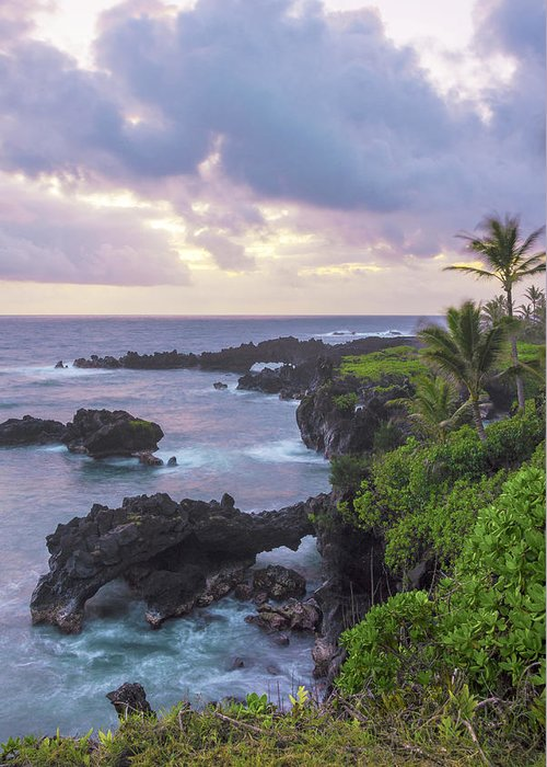 Road To Hana Lava Rock Sea Arches Sunrise Maui Hawaii Hi Seascape Greeting Card featuring the photograph Hana Arches Sunrise 3 - Maui Hawaii by Brian Harig
