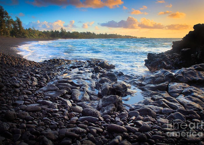 America Greeting Card featuring the photograph Hana Bay Sunrise by Inge Johnsson