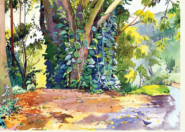 Don Jusko Greeting Card featuring the painting Hana Ivy/vine Tree by Don Jusko